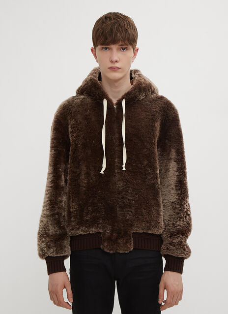 Saint Laurent Hooded Faux Fur Jacket