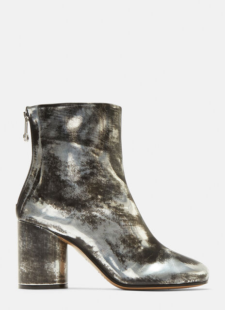 Maison Margiela Distressed Metallic Ankle Boots