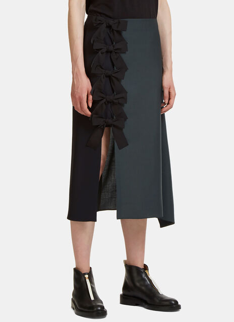 Draped Two-Tone Bow Skirt