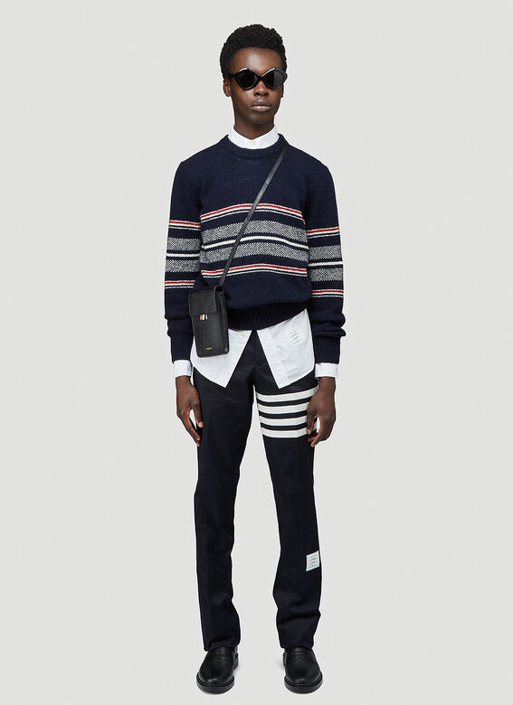 Thom Browne CLASSIC LONG SLEEVE BUTTON DOWN POINT COLLAR SHIRT W/ GG ARMBAND IN OXFORD 2
