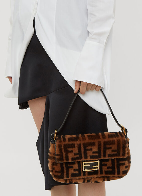 Fendi Baguette Sheepskin Bag in Brown  08a8e89a66ac7