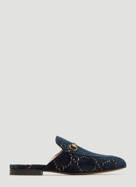 Gucci Princetown GG Velvet Slipper Shoes