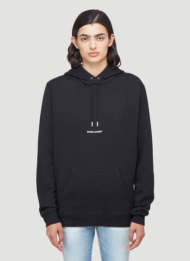 생 로랑 Saint Laurent Logo-Print Hooded Sweatshirt in Black