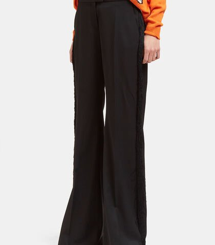 Fringed Wide Flared Pants