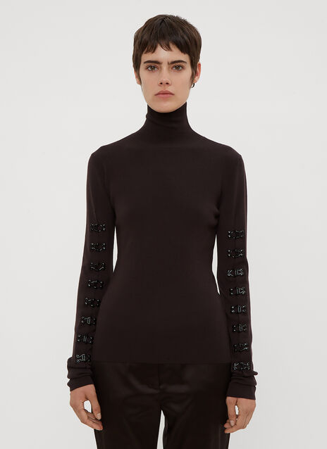 Olivier Theyskens Hook and Eye Sleeve Mock Neck Sweater