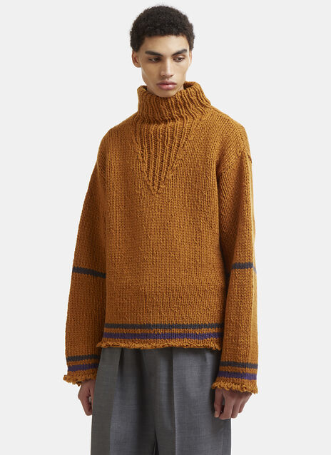 Maison Margiela Roll Neck Distressed Knit Sweater