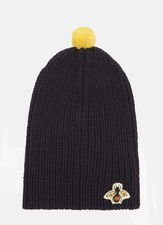 Bee Embroidered Ribbed Bobble Hat in Navy ef636c4ee25