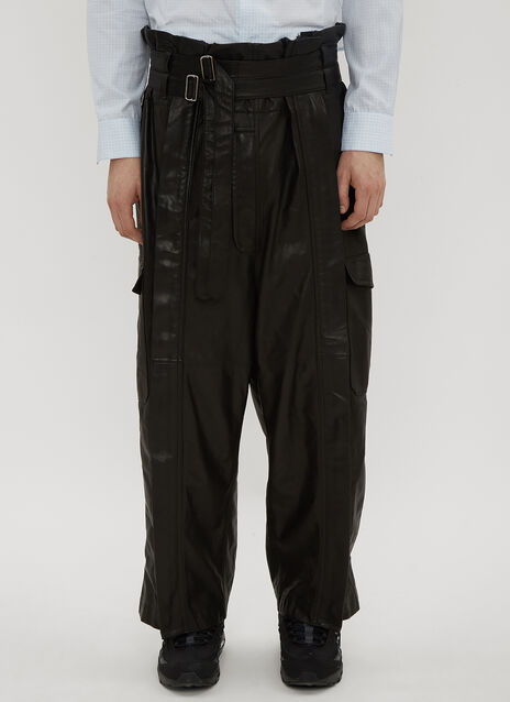 Hed Mayner Leather Cargo Pants