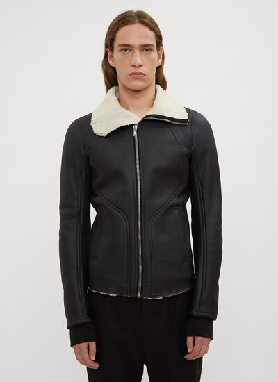 Rick Owens Intarsia High Neck Leather Jacket