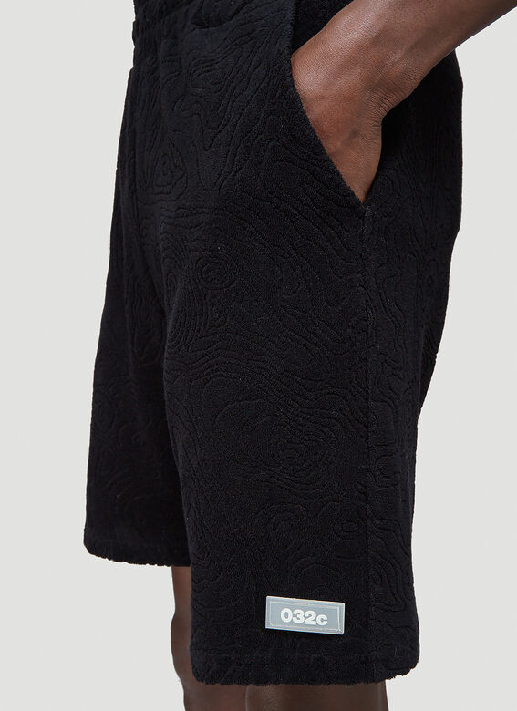 """032C """"Topos"""" Shaved Terry Shorts Black 100% CO 5"""