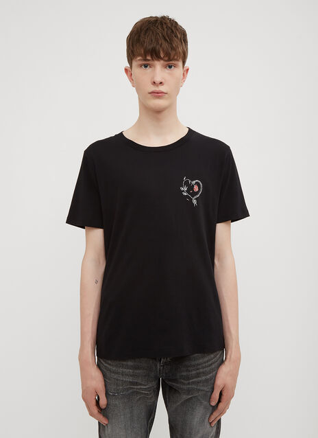 Saint Laurent Snake and Rose Logo T-Shirt