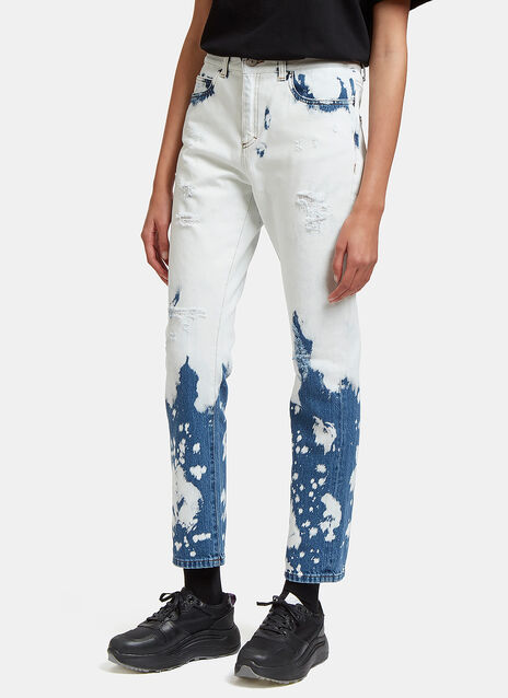 Bleach Washed Straight Leg Jeans