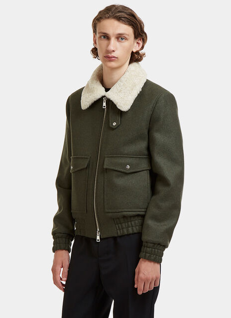 Shearling Collared Patch Pocket Jacket
