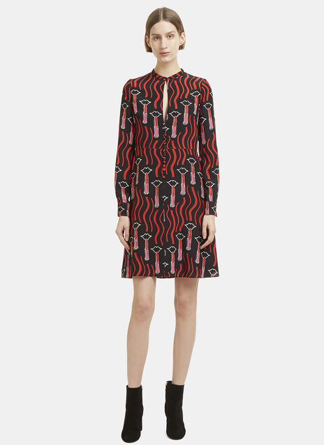 Valentino Lipstick Print Dress in Black