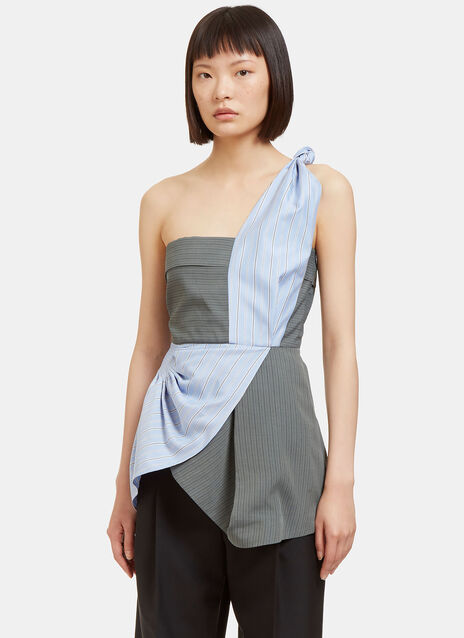 Knotted Shoulder Pinstripe Bodice Top