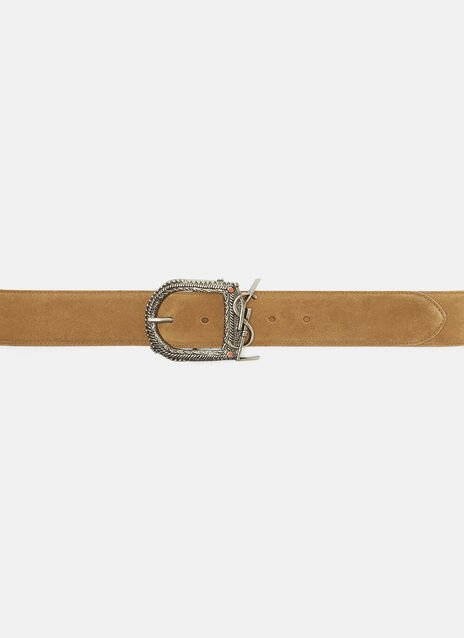 Saint Laurent Monogram Buckle Suede Belt