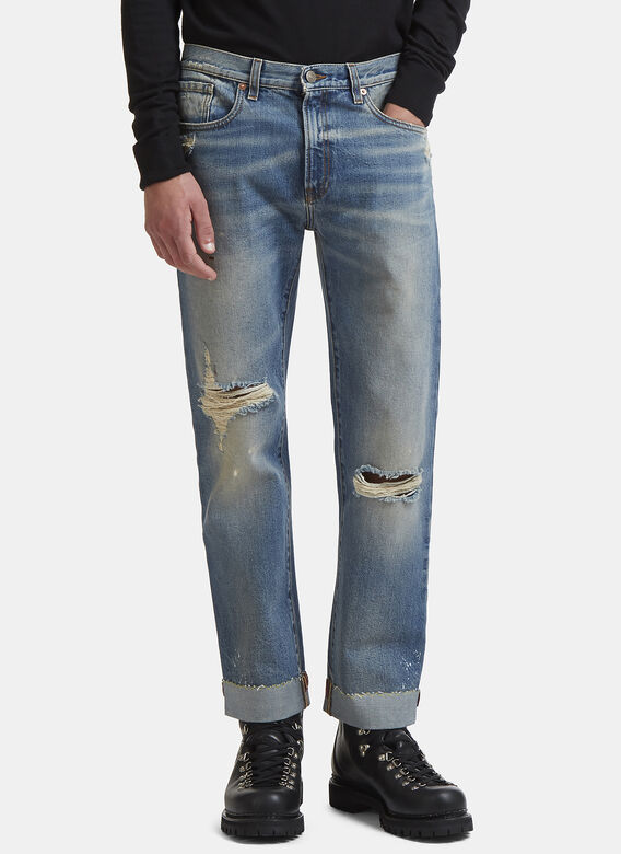 Embroidered Ribbon Jeans In Blue by Gucci