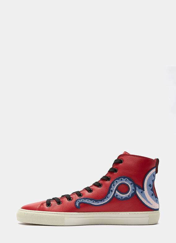 0876b73c8aa Gucci Dragon Embroidered High-Top Sneakers