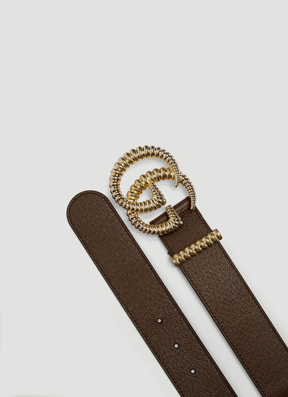 Gucci DOLLAR PIG PRINT BROWN BELT WITH GG LOGO