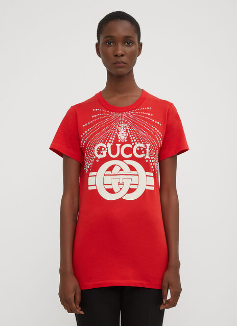 Gucci Bejewelled Swimsuit Print T-Shirt