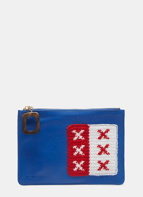 Crochet Patch Leather Pouch