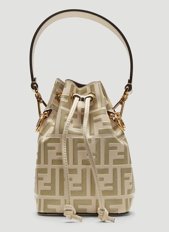 a2be56ea397 Fendi Mini Mon Tresor Bucket Bag in White | LN-CC