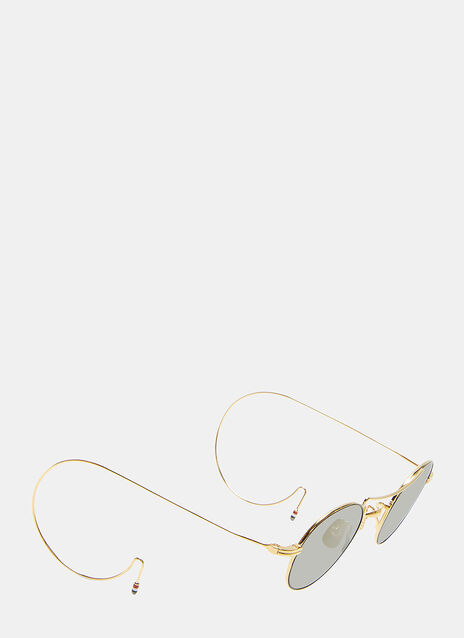 Thom Browne Gold-Rimmed Mini Round Frame Sunglasses