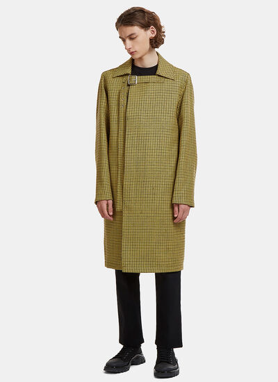 Raf Simons Mid-Length Buckled Houndstooth Coat