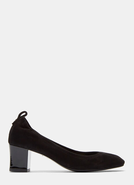 Suede Cube Heeled Pumps