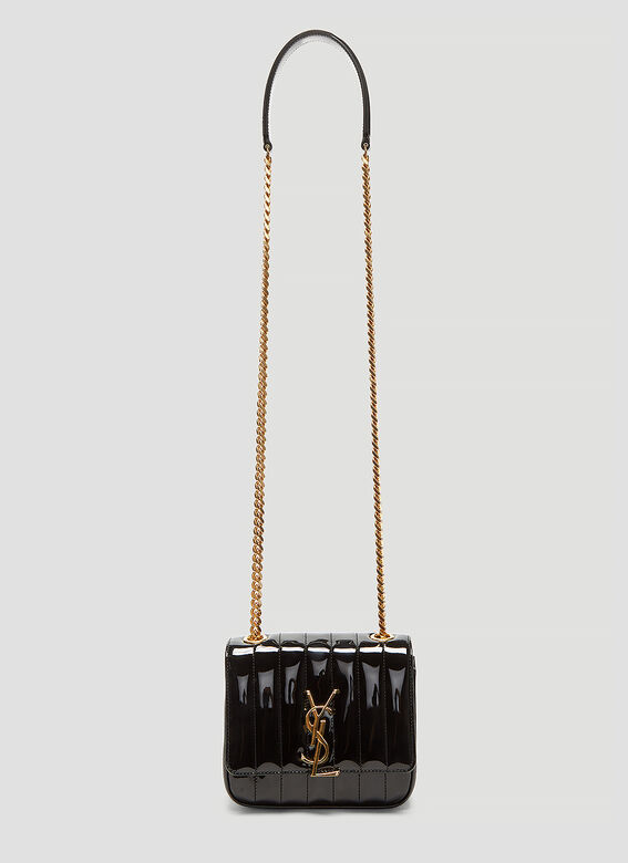 Saint Laurent Small Vicky Matelassé Patent Shoulder Bag
