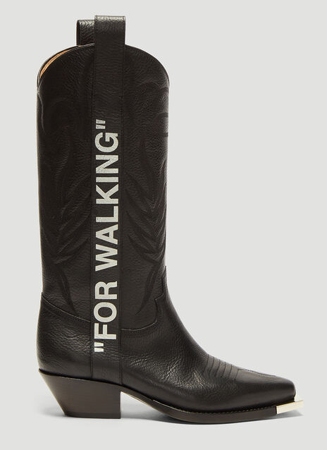 Off-White For Walking 40 Leather Western Boots