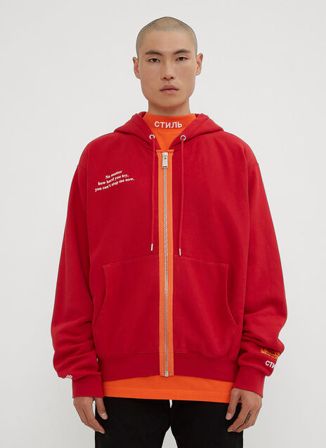 Heron Preston Hooded Me V Me Zip-Up Sweater
