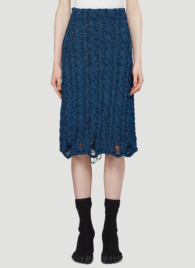 Balenciaga Distressed Cable-Knit Skirt