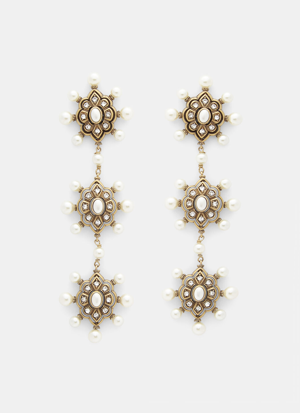 Gucci Pearl Embellished Drop Earrings in Gold