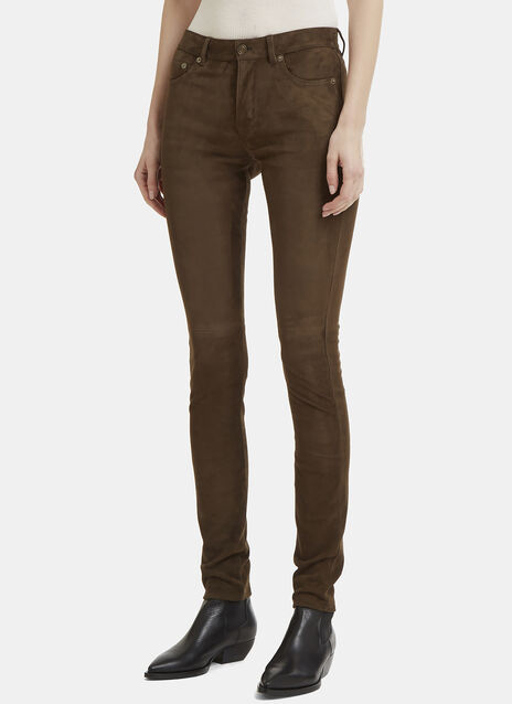 Saint Laurent Suede Skinny Leg Pants