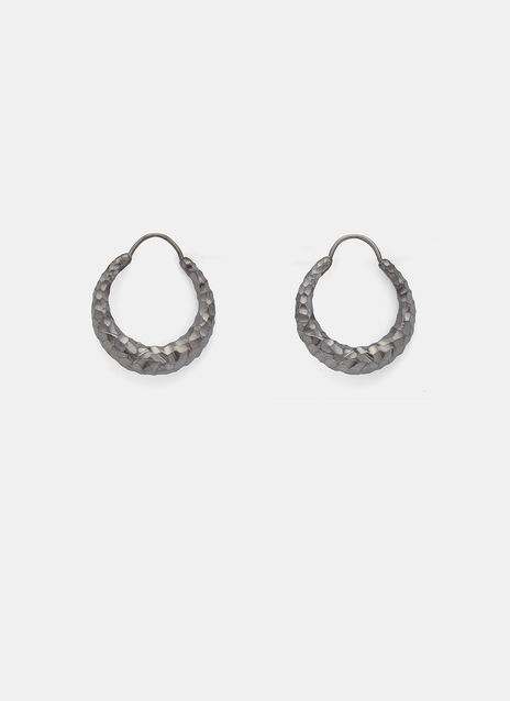 Fat Snake Ruthenium Carved Earrings