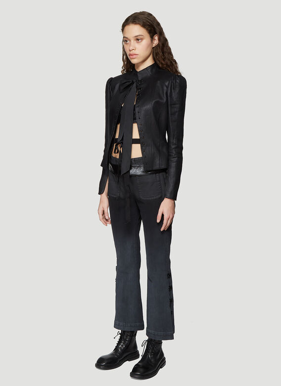 Olivier Theyskens FLARED BOTTOM JEANS WITH HOOK AND EYE DETAIL 2