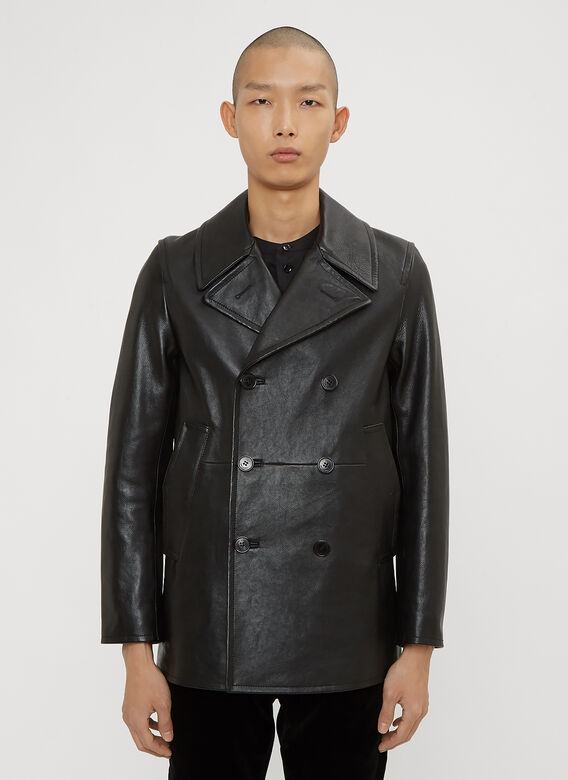 380f2a3cc39 Saint Laurent Leather Pea Jacket in Black | LN-CC