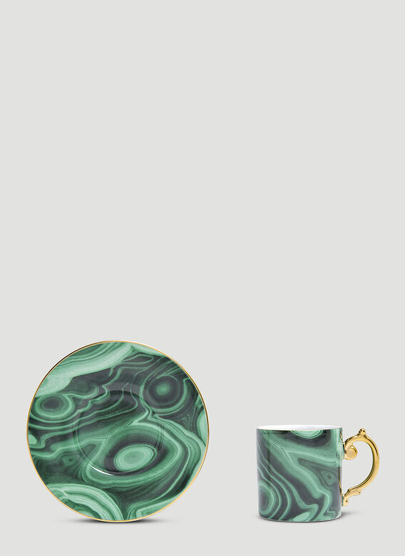 L'Objet Set of Six Malachite Espresso Cup and Saucer 2