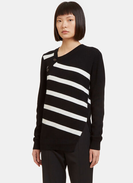 Asymmetric Buttoned Striped Cashmere Knit Sweater