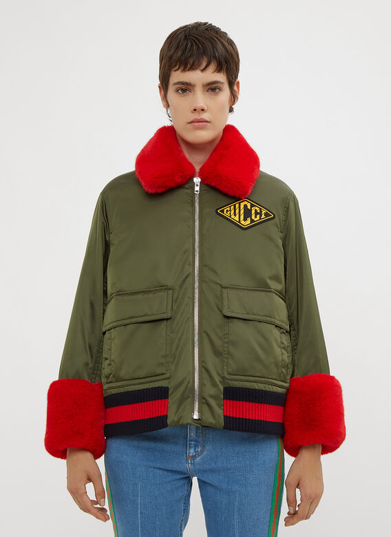 7ed311f9c64b Gucci Faux Fur Trimmed Bomber Jacket in Green