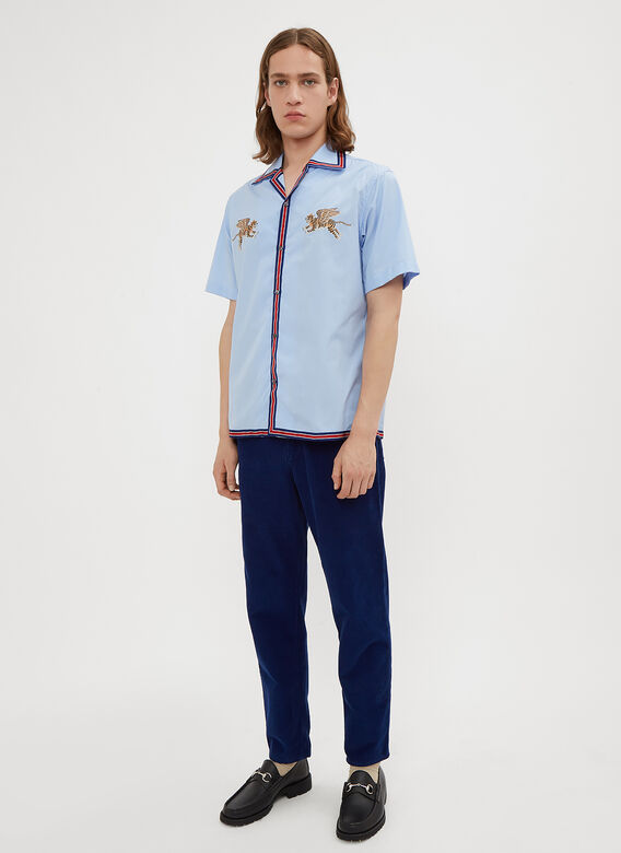 Gucci Short Sleeve Tiger Embroidered Shirt
