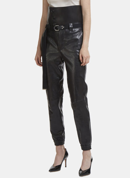 Buy High-Waisted Elasticated Cuff Leather Pants online