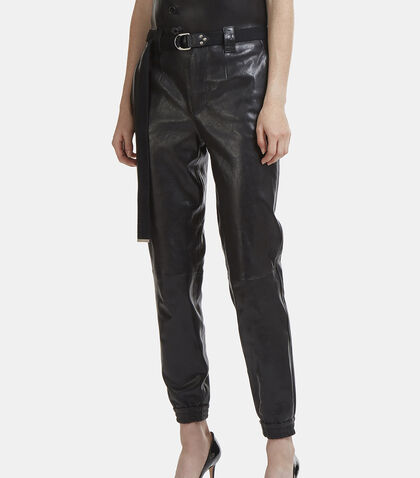 High-Waisted Elasticated Cuff Leather Pants