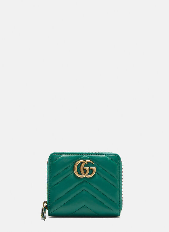 1a32cce517a Gucci Small Marmont Zip Around Wallet in Green