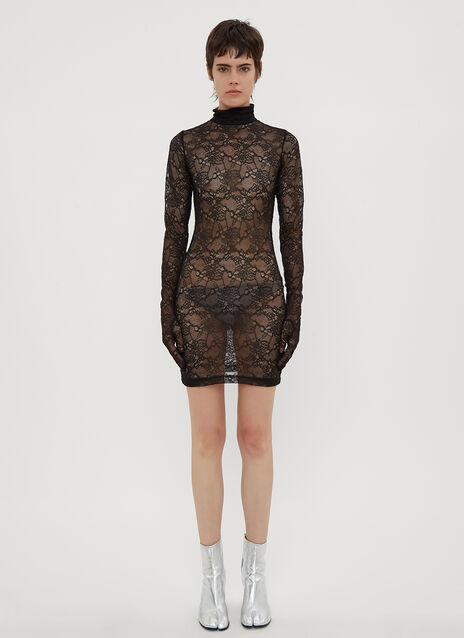 Vetements Lace Glove Sleeve Styling Dress