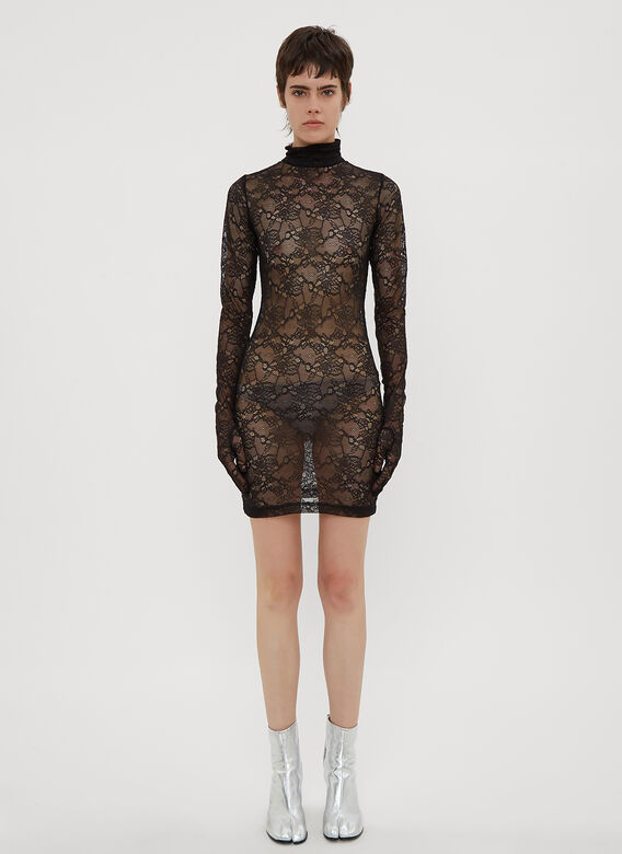 9e700c37293c Vetements Lace Glove Sleeve Dress in Black