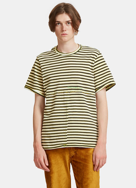 Lapped Striped Crew Neck T-Shirt