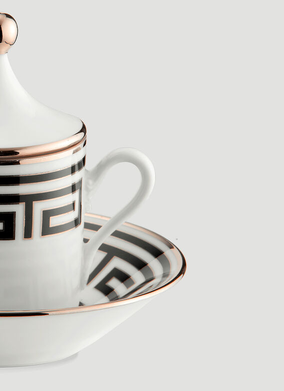 Ginori 1735 Labirinto Tête À Tête Coffee Set, 2 Coffee Cups With Covers And Saucers Impero Shape 3