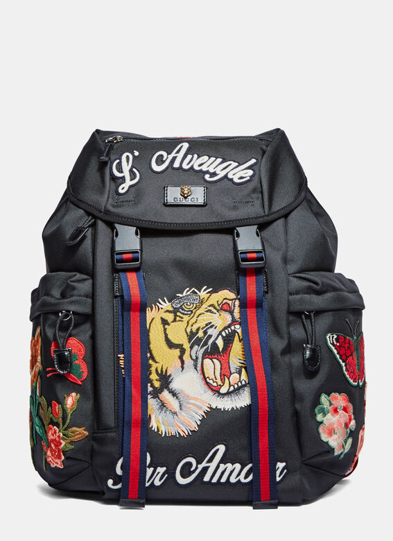 d3c735147c49 Gucci Zaino Embroidered Patch Canvas Backpack   LN-CC